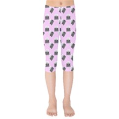 Retro Typewriter Pink Pattern Kids  Capri Leggings  by snowwhitegirl