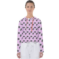 Retro Typewriter Pink Pattern Women s Slouchy Sweat