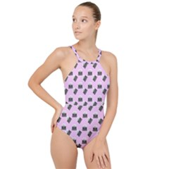 Retro Typewriter Pink Pattern High Neck One Piece Swimsuit
