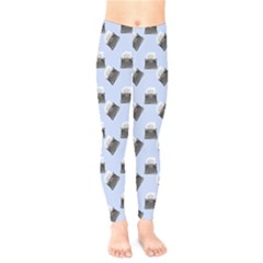Retro Typewriter Blue Pattern Kids  Legging