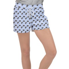 Retro Typewriter Blue Pattern Women s Velour Lounge Shorts