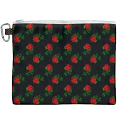 Red Roses Black Canvas Cosmetic Bag (xxxl) by snowwhitegirl