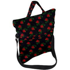 Red Roses Black Fold Over Handle Tote Bag by snowwhitegirl