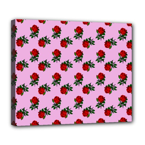 Red Roses Pink Deluxe Canvas 24  X 20  (stretched) by snowwhitegirl
