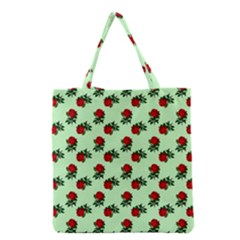 Red Roses Green Grocery Tote Bag by snowwhitegirl