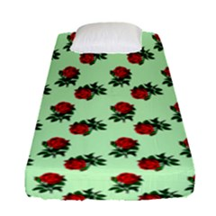 Red Roses Green Fitted Sheet (single Size)