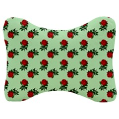 Red Roses Green Velour Seat Head Rest Cushion
