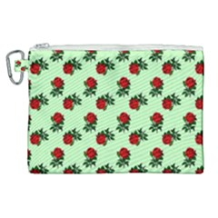Red Roses Green Canvas Cosmetic Bag (xl) by snowwhitegirl