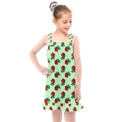 Red Roses Green Kids  Overall Dress
