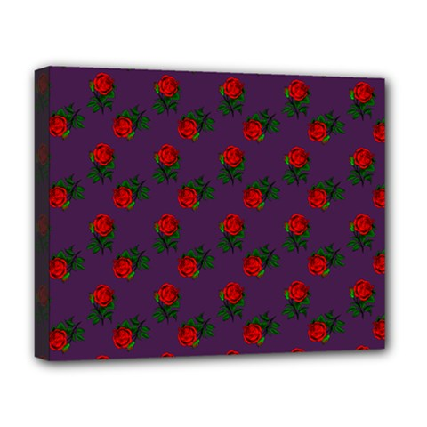 Red Roses Purple Deluxe Canvas 20  X 16  (stretched)