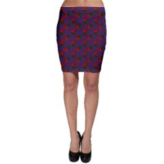 Red Roses Purple Bodycon Skirt
