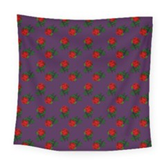 Red Roses Purple Square Tapestry (large) by snowwhitegirl