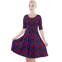 Red Roses Purple Quarter Sleeve A Line Dress