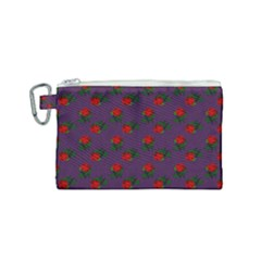 Red Roses Purple Canvas Cosmetic Bag (small) by snowwhitegirl