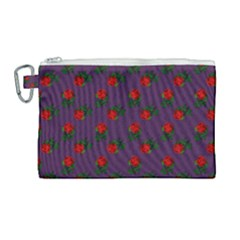 Red Roses Purple Canvas Cosmetic Bag (large) by snowwhitegirl