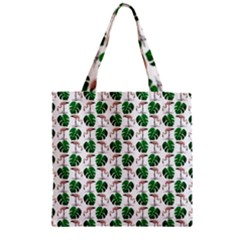 Flamingo Leaf Patttern Zipper Grocery Tote Bag by snowwhitegirl