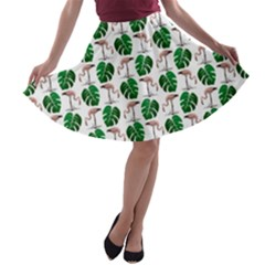 Flamingo Leaf Patttern A-line Skater Skirt by snowwhitegirl