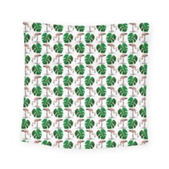 Flamingo Leaf Patttern Square Tapestry (small) by snowwhitegirl