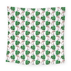 Flamingo Leaf Patttern Square Tapestry (large) by snowwhitegirl