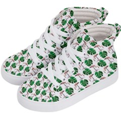 Flamingo Leaf Patttern Kid s Hi Top Skate Sneakers by snowwhitegirl