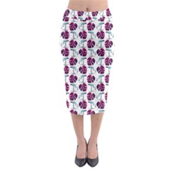 Flamingo Leaf Patttern Blue Midi Pencil Skirt by snowwhitegirl