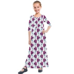 Flamingo Leaf Patttern Blue Kids  Quarter Sleeve Maxi Dress by snowwhitegirl