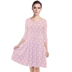 Little  Dots Pink Quarter Sleeve Waist Band Dress
