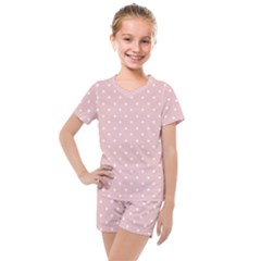 Little  Dots Pink Kids  Mesh Tee And Shorts Set