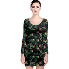Vintage Jester Floral Pattern Long Sleeve Bodycon Dress