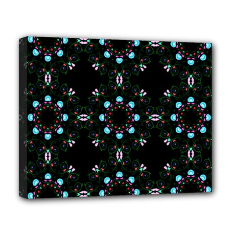 Embroidery Paisley Black Deluxe Canvas 20  X 16  (stretched)