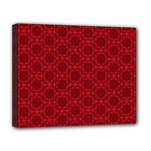 Victorian Paisley Red Deluxe Canvas 20  X 16  (stretched)