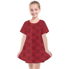 Victorian Paisley Red Kids  Smock Dress