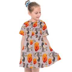 Girl With Roses And Anchors Kids  Sailor Dress