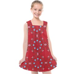 Embroidery Paisley Red Kids  Cross Back Dress