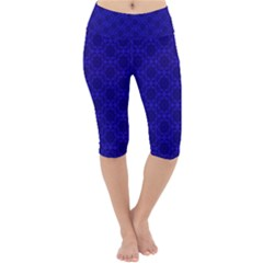 Victorian Paisley Royal Blue Pattern Lightweight Velour Cropped Yoga Leggings