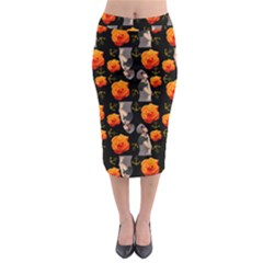 Girl With Roses And Anchors Black Midi Pencil Skirt by snowwhitegirl