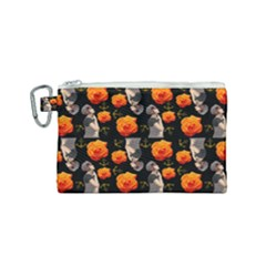 Girl With Roses And Anchors Black Canvas Cosmetic Bag (small) by snowwhitegirl
