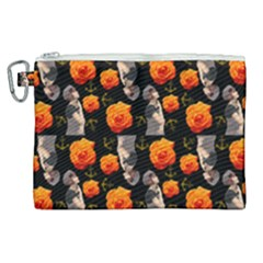 Girl With Roses And Anchors Black Canvas Cosmetic Bag (xl) by snowwhitegirl