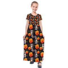 Girl With Roses And Anchors Black Kids  Short Sleeve Maxi Dress
