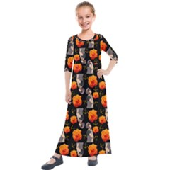 Girl With Roses And Anchors Black Kids  Quarter Sleeve Maxi Dress by snowwhitegirl