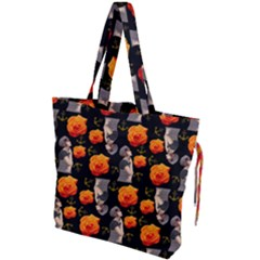 Girl With Roses And Anchors Black Drawstring Tote Bag by snowwhitegirl