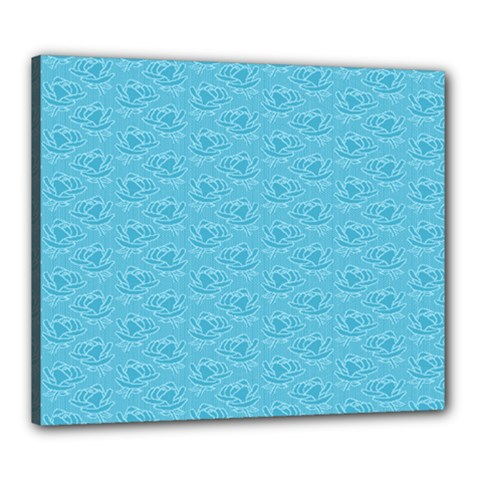 Retro Blue Pattern Canvas 24  X 20  (stretched) by snowwhitegirl