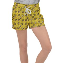 Girl With Popsicle Yellow Floral Women s Velour Lounge Shorts