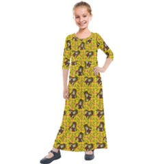 Girl With Popsicle Yellow Floral Kids  Quarter Sleeve Maxi Dress