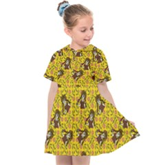 Girl With Popsicle Yellow Floral Kids  Sailor Dress
