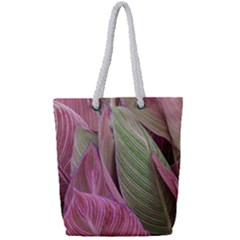 Pink Leaves Full Print Rope Handle Tote (small) by snowwhitegirl