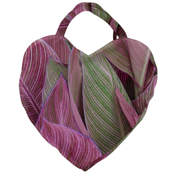 Pink Leaves Giant Heart Shaped Tote