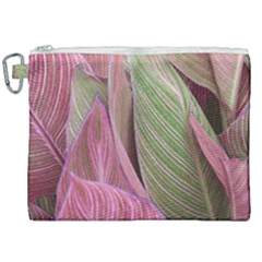 Pink Leaves Canvas Cosmetic Bag (xxl) by snowwhitegirl