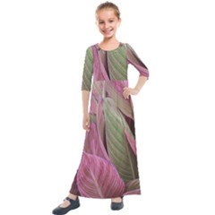 Pink Leaves Kids  Quarter Sleeve Maxi Dress by snowwhitegirl