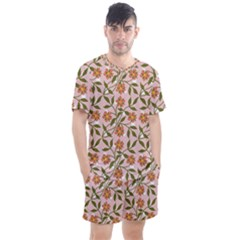 Pink Dot Floral Men s Mesh Tee And Shorts Set